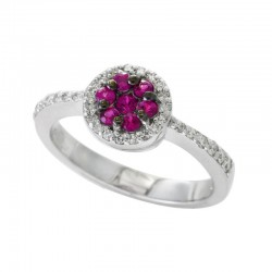 14K White Gold Diamond & Natural Ruby Ring. Round Diamonds 0.22 TCW & Round Rubies 0.35 TCW