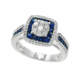 14K White Gold Diamond & Natural Sapphire Ring. Round Diamonds 0.55 TCW & Round Sapphires 0.81 TCW