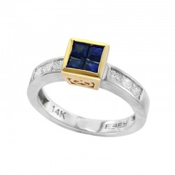 14K White & Yellow Gold Diamond & Natural Sapphire Ring. Princess Cut Diamonds 0.60 TCW & Princes Cut Sapphires 0.76