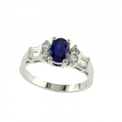 14K White Gold Diamond & Natural Sapphire Ring. Round & Baguette Diamonds 0.39 TCW & Oval Sapphire 0.95 TCW