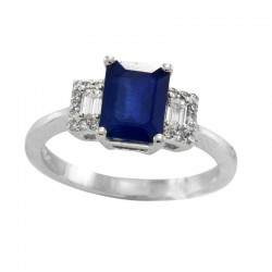 14K White Gold Diamond & Natural Sapphire Ring. Round & Baguette Diamonds 0.22 TCW & Emerald Cut Sapphire 1.52 TCW