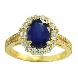 14K Yellow Gold Diamond & Natural Sapphire Ring. Round Diamonds 0.64 TCW & Oval Blue Sapphire 1.90 TCW