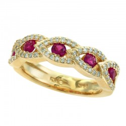14K Yellow Gold Diamond & Natural Ruby Ring. Round Diamonds 0.32 TCW & Round Rubies 0.67 TCW