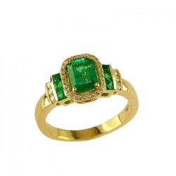 14K Yellow Gold Diamond & Natural Emerald Ring. Round Diamonds 0.19 TCW & Emerald and Baguette Cut Emeralds 1.26 TCW