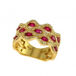 14K Yellow Gold Diamond & Natural Ruby Ring. Round Diamonds 0.45 TCW & Marquise Rubies 1.25 TCW