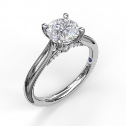 Round Cut Solitaire With Decorated Bridge