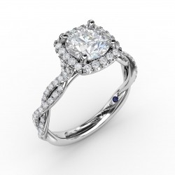 Classic Cushion Diamond Halo Engagement Ring With Cathedral Twist Diamond Band