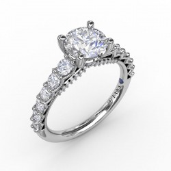 Contemporary Diamond Solitaire Engagement Ring With Openwork Diamond Band