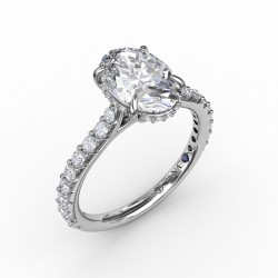Classic Oval Diamond Solitaire Engagement Ring With Hidden Pave Halo