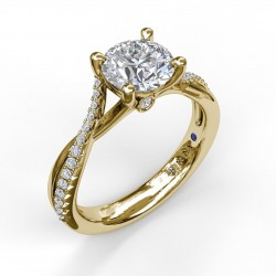 Alternating Diamond Twist Engagement Ring