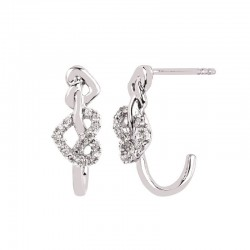 SS Love Lock™ Diamond Heart Knot Earrings