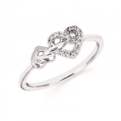 SS Love Lock™ Diamond Heart Knot Ring