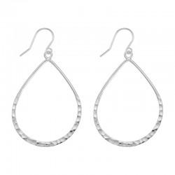 SS Thin Hammered Teardrop Earrings