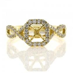 18KY Diamond Semi-Mount Engagement Ring