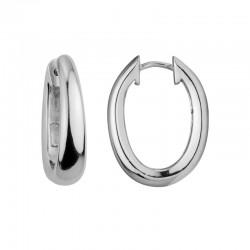 SS Oval Hinged Hoop Earrings