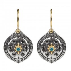 Women's  Astria Collection Silver & 18KY Gold Lone Star Earings