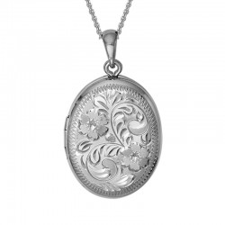 Silver 25mm Oval Engraved Locket on 16