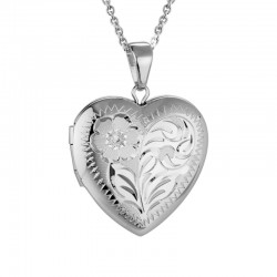 Silver Medium Heart Engraved Locket with Chain