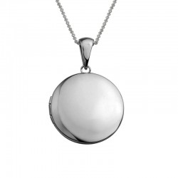 Silver Round Plain Locket on 16