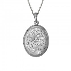 Silver Oval Engraved Locket on 16