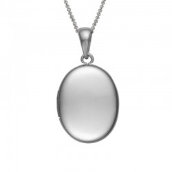 Silver Oval Plain Locket on 16