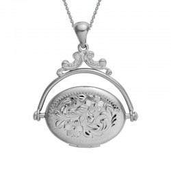 Sterling Silver Revolving Engraved Oval Locket on Adjustable Chain 16