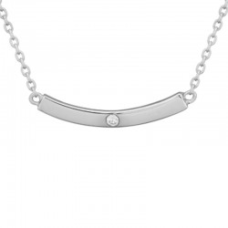 Silver Curved Bar Pendant with 0.02 Round Diamond on 16