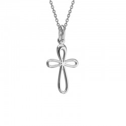 Silver Small Palm Cross Pendant on Adjustable 16