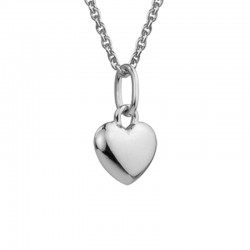 Silver Solid Heart Pendant on 14