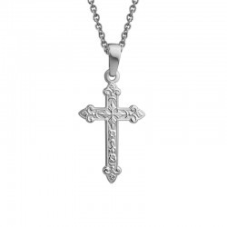Silver Ornate Cross Pendant on 16