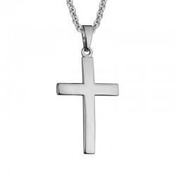 Silver 21mm Contour Cross Pendant on 16
