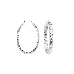 14KW Oval D/C Hoop Earrings