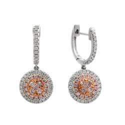 14K White & Rose Gold Diamond & Natural Pink Diamond Earrings. Round White and Pink Diamonds 0.76 TCW - 38 Pink Round Diamonds Total