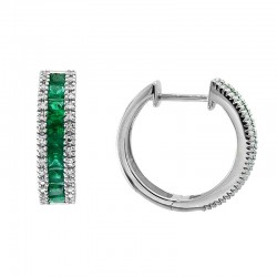 Lady's 14KW Emerald & Diamond Hoop Earrings with 18=1.56tw Emerald and 0.24tw Round Diamonds