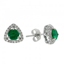 14K White Gold Emerald Earrings. Round Diamonds 0.16 TCW & Round Emeralds 0.95 TCW