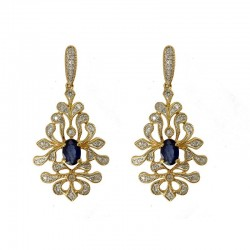 14KY Sapphire & Diamond Earrings