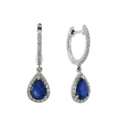 14KW Sapphire and Diamond Earrings