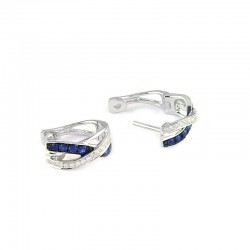 14KW Diamond and Sapphire Small Hoop Earrings