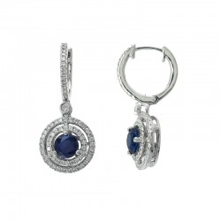 Lady's 14KW Gold Sapphire (0.58tcw) & Diamond (0.56tdw) Earrings