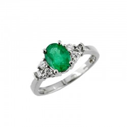 14KW Emerald & Diamond Ring