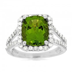 14KW Peridot & Diamond Ring