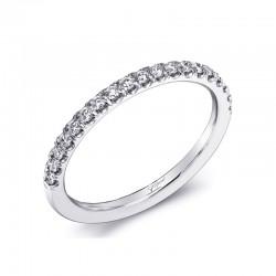 14K White Gold Diamond Wedding Band with 19 Round Diamonds at .21ct tw
