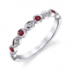 14KW Milgrain Diamond & Ruby Band .06ct tw Diamonds & .14ct tw Rubies