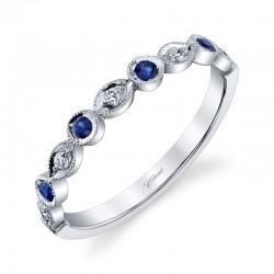 14KW Milgrain Diamond & Sapphire Band .06ct tw Diamonds & .14ct tw Sapphires