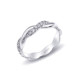 14K White Gold Diamond Band with 21 Round Diamonds at .31ct tw in Fishtail Setting