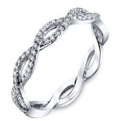 14KW Diamond Band Fishtail .19Ct Tw 21 Round Diamonds F