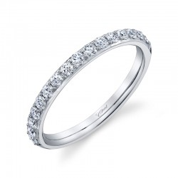 14K White Gold Diamond Comfort Fit Wedding Band with 16 Round Diamonds at .39ct tw