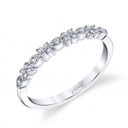 14KW Milgrain Diamond Band .13ct tw 21 Round Diamonds