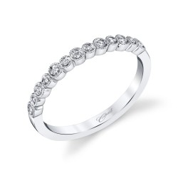 14KW  Milgrain Diamond Band .09ct tw 13 Round Diamonds