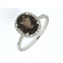 14KW Smoky Quartz & Diamond Ring